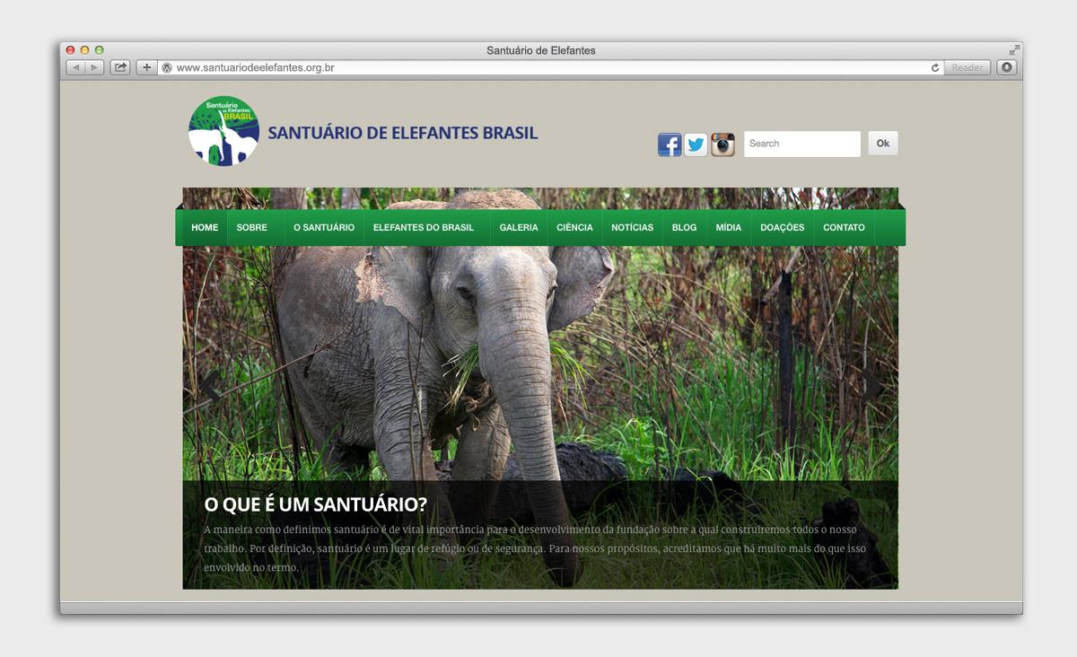 página inicial - Site Santuário de Elefantes