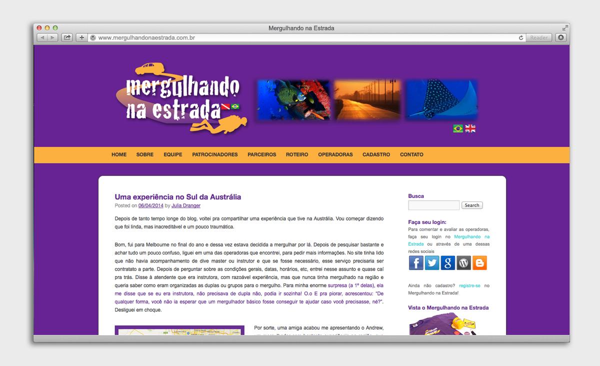 Site Mergulhando na Estrada - página inicial